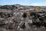 Man Hiking on Cooled Lava