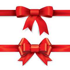 Red gift bows with ribbons. Vector.