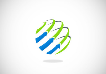 globe arrow business sphere line vector logo