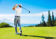 Leinwandbild Motiv Man Playing Golf, Hitting Ball from the Tee