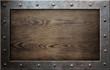 old metal frame over wooden background - 70874851