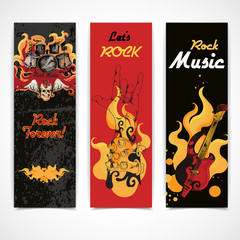 Rock music banners set