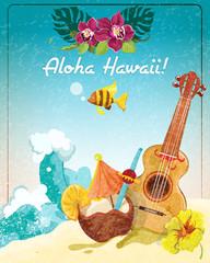 Hawaii guitar vacation poster