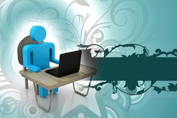 3d business men with laptop