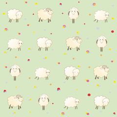 pale green wallpaper with baby lambs