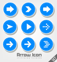 Stitched Arrow Icon Flat Design