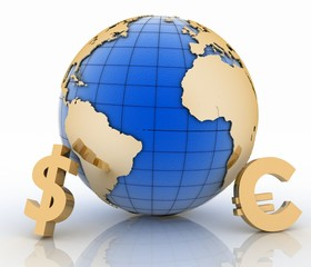 3d globe with gold currency symbols on white background