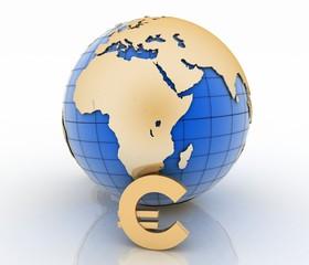 3d globe with gold euro symbols on white background