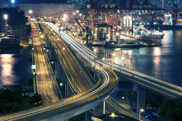 Container Port and Highway in Hong Kong