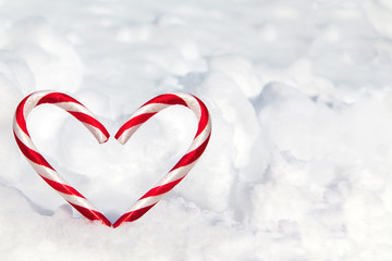 Heart Shape Candy Canes in the Snow