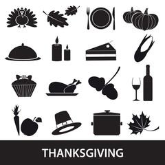 thanksgiving icons set eps10