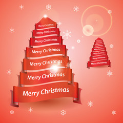 merry christmas tree from red ribbon banners eps10