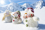 Fototapety Winter, snow, snowman friends and snowy mountains