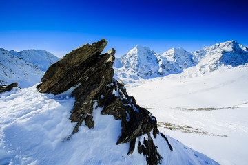 Winter mountains - snow-capped peaks of the Alps