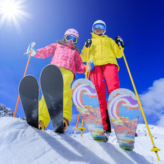 Ski, skiers - skiers enjoying ski vacation