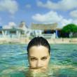 Beautiful elegant woman in the sea
