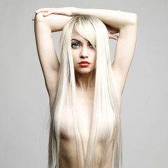 Sexy blonde with long hairs