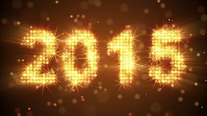 new year 2015 greeting orange. last 10 sec are loop