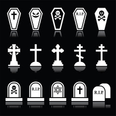 Halloween, graveyard icons set - coffin, cross, grave on black
