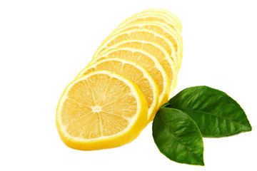 Fresh sliced ​​lemon and green leaves on white background.