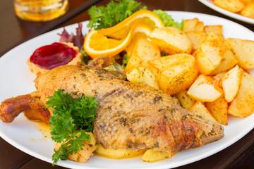 polish national dish - duck with apples and potato