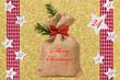 Nikolaussack mit Kalender auf Gold