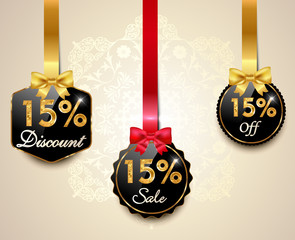 15 sale,discount golden labels with red bows, ribbons offer