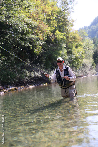 Tuinposter Vissen Closeup of fisherman fly fishing in freshwater river