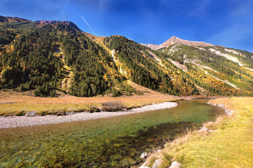 Hillsides picturesque alpine valley