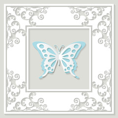 Filigree paper cut frame with butterfly.