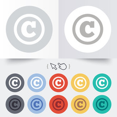 Copyright sign icon. Copyright button.
