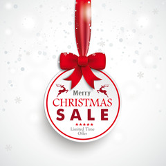 White Paper Bauble Red Ribbon Snowfall