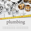 plumbing and tools lying on drawing - 70881479