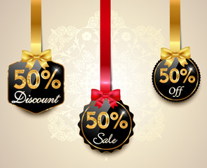 50 sale,discount golden labels with red bows, ribbons offer