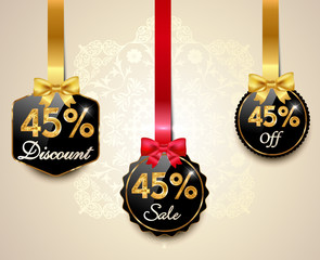 45 sale,discount golden labels with red bows, ribbons offer