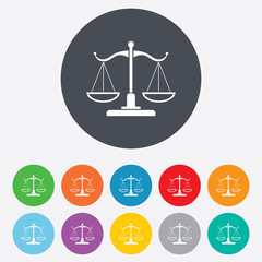 Scales of Justice sign icon. Court of law symbol