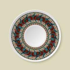 Round tribal ornament. Pattern shown on the ceramic plate. Vecto