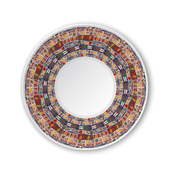 Round tribal pattern. Pattern shown on the ceramic plate. Vector