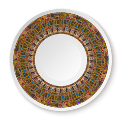 Round African tribal ornament. Pattern shown on the ceramic plat
