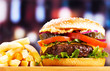 hamburger with fries - 70882226