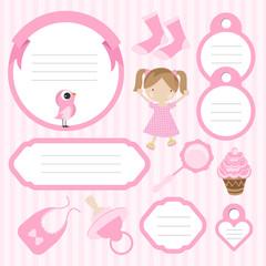 baby pink scrapbook elements