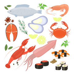 Selection of seafood  shrimp and sushi icons