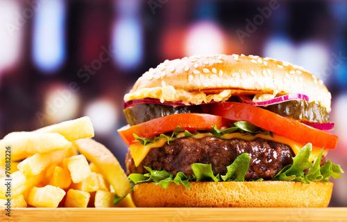Poster hamburger with fries