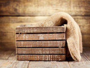 old wooden box with sack