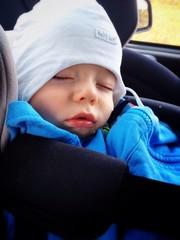 Baby boy fell asleep in the car seat