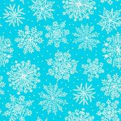 Hand drawn snowflakes. Seamless pattern.
