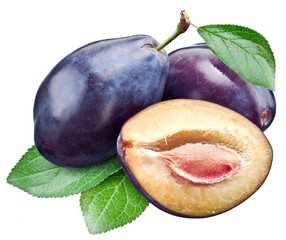 Three plums with leaf. Clipping paths.
