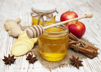 fresh honey with  spices and apples