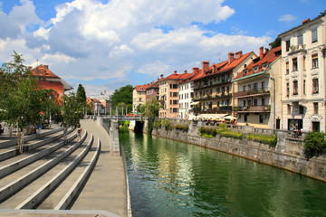 LJUBLJANA, SLOVENIA - CIRCA JULY 2014: Old town embankment in Lj