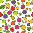 Seamless vector pattern with colorful doodle juicy fruits